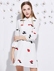 Chemise Robe Femme Sortie simple,Imprimé Col de Chemise Au dessus du genou Manches Longues Blanc Polyester Automne Taille HauteNon