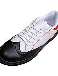 Masculino-Tênis-Arrendondado-Rasteiro-Preto / Preto e Vermelho / Preto e Branco-Couro Ecológico-Casual
