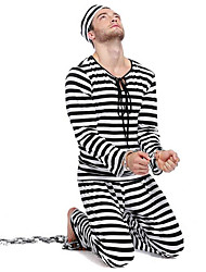 Cosplay Costumes / Party Costume Men's Striped Prisoner Cosplay Halloween Costume Halloween/Christmas/New Year