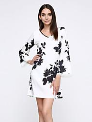 Robe Aux femmes Sexy , Couleur Pleine Col en U Mini Autres