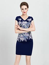 partido tamanho plus / cocktail chinoiserie bodycon dressembroidered v pescoço da MASA mulheres acima do joelho manga curta azul
