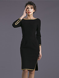 Baoyan Women's Round Neck Long Sleeve Knee-length Dress-150656