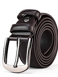 Mens Black Leather Waist Belt Straps Casual Pants Jeans Silver Wide Waist Belt Buckle