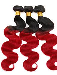 ombre peruano onda del cuerpo del pelo virginal peruana del pelo de Halloween 3 paquetes insecto rojo ombre 1b 99j del pelo humano