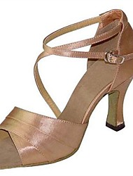 Customizable Women's Ballroom Dance Shoes Satin Latin / Salsa Sandals / Heels Customized Heel Indoor / Performance