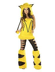 Costumes Animal Costumes Halloween Yellow Solid Velvet Top / Skirt / Leg Warmers / Hat