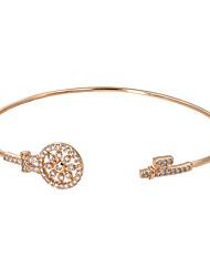 Femme Manchettes Bracelets Zircon Plaqué or 18K or Mode Bohême Forme Géométrique Argent Doré Bijoux 1pc
