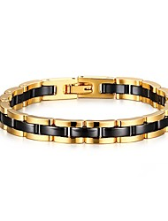 Men's ID Bracelets Jewelry Party/Birthday/Daily/Casual Fashion Ceramic /Tungsten Steel/Gold Plating Gold-Black 1pc  Christmas Gifts