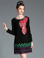 AUFOLI Winter Women Plus Size Fashion Vintage Bead Print Patchwork Lace Hollow Long Sleeve Dress