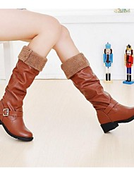 Women's Boots Spring Fall Winter PU Outdoor Low Heel Buckle Black Brown Yellow Other