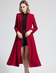 BORME Women's V Neck Long Sleeve Trench Coat Burgundy-Y068