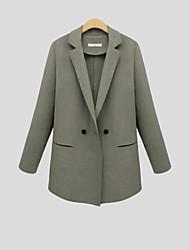 Damen Solide Einfach Arbeit Blazer,Steigendes Revers Herbst Langarm Blau / Weiß / Grün Polyester Undurchsichtig