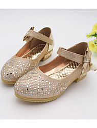 Girl's Flats Fall Comfort PU Casual Flat Heel Bowknot / Sparkling Glitter Pink / Silver / Gold Others