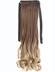 22'' (55CM) Women Long Wave Curly Synthetic Hair Ponytail Ombre Ribbon Pony Tail Hair Extensions Hair Piece 10T16