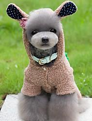 Cães Fantasias / Macacão Marrom / Rosa / Cinzento Roupas para Cães Inverno / Primavera/Outono Animal Fofo / Fantasias
