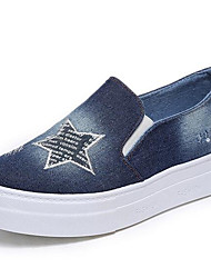 Women's Loafers & Slip-OnsCreepers / Flats Canvas Outdoor / Athletic / Casual Platform Applique Blue