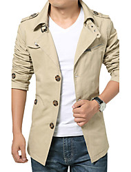 Men's Going out Casual/Daily Simple Trench Coat,Solid Long Sleeve Spring Fall Cotton