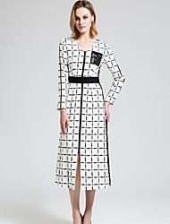 BORME Women's V Neck Long Sleeve Tea-length Dress-Y033
