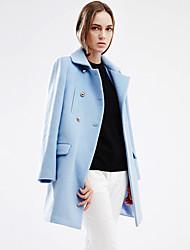 Damen Solide Einfach Arbeit Mantel,Winter Steigendes Revers Langarm Blau Mittel Wolle / Acryl