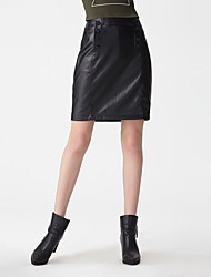 Women's Solid Black SkirtsSimple Mini
