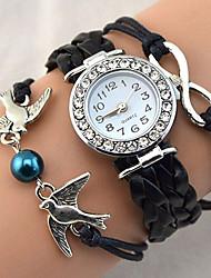 Mujer Reloj de Moda Reloj de Pulsera Reloj Pulsera Cuarzo Brillante La imitación de diamante PU BandaCosecha Destello Heart Shape Bohemio