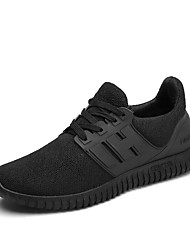 Men's Sneakers  Comfort / Round Toe / Closed Toe Fabric Casual Flat Heel Lace-up Black / Red Walking