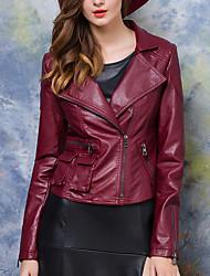Женский На выход / На каждый день Осень Кожаные куртки Рубашечный воротник,Простое Однотонный Красный / Черный Длинный рукав,