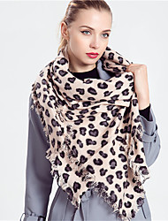 Women Vintage Casual Classic Elegance Pink  Love Leopard Pattern Cashmere Tassel Wool Scarf  Scarves