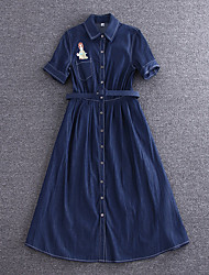 Boutique S Going out Simple Sheath DressSolid Shirt Collar Midi Short Sleeve Blue Cotton Summer