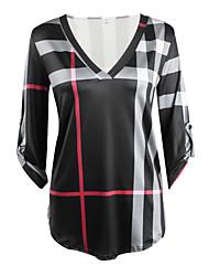 T-shirt Da donna Casual Vintage / Semplice Autunno / Inverno,A quadri A V Cotone / Rayon Rosa / Bianco / Nero Maniche a ¾ Sottile