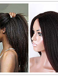 100% Unprocessed Natural Color Kinky Straight Brazilian Virgin Hair Full Lace Human Hair Wig 130 Density for Black Women