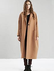 Damen Solide Einfach Ausgehen / Lässig/Alltäglich Mantel,Winter Gekerbtes Revers Langarm Gelb Dick Wolle / Polyester