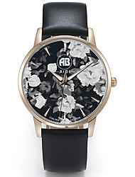 Louis Rose Golden Case Flower Dial Black Leather Strap Watch