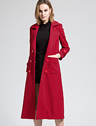 BORME Women's Shirt Collar Long Sleeve Trench Coat Red-Y064