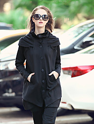 LUTING Women's Round Neck Long Sleeve Hoodie & Sweatshirt Black-8818
