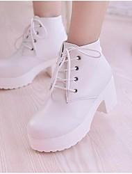 Для женщин Ботинки Армейские ботинки Дерматин Полиуретан Осень Зима Армейские ботинки Шнуровка На толстом каблуке Блочная пяткаБелый