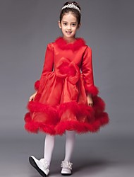 Ball Gown Knee-length Flower Girl Dress - Satin Jewel with Bow(s)