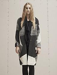 Damen Geometrisch Einfach Ausgehen / Lässig/Alltäglich Mantel,Winter V-Ausschnitt Langarm Schwarz Dick Wolle / Polyester