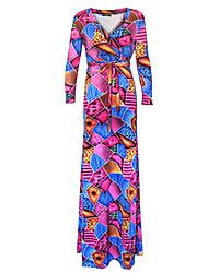 Women's Plus Size Boho Loose DressPrint V Neck Maxi Long Sleeve Red Polyester Spring / Fall High Rise Stretchy Medium