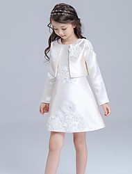 A-line Knee-length Flower Girl Dress - Cotton / Satin Long Sleeve Jewel with Appliques
