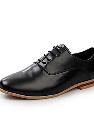 Femme-Décontracté-Noir / Blanc-Talon Plat-Confort-Sneakers-Polyuréthane