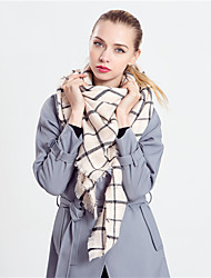 Women British Style Casual Rectangle Cashmere Thick Black And White Plaid Houndstooth Scarf Warm Tassel Wool  Scarves