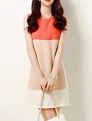 Mulheres Reto Vestido,Happy-Hour / Tamanhos Grandes Chinoiserie Color Block Decote Redondo Acima do Joelho Sem Manga Rosa Poliéster Verão