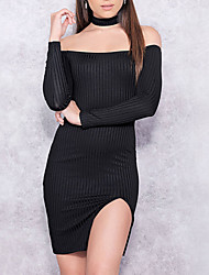 Women's Sexy Bodycon DressSolid Boat Neck Mini / Above Knee Black Polyester Summer / Fall Mid Rise