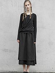 rizhuo Frauen solid black skirtssimple midi