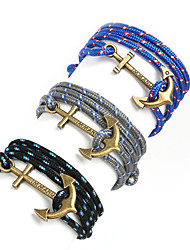 Beadia 1Pc Antique Brass Anchor Retro Multilayer Risers Bracelet Christmas Gifts