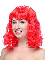 Red Moderate Length Curly Halloween Wigs Synthetic Wigs Costume Wigs