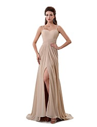 Formal Evening Dress - Furcal A-line Spaghetti Straps Sweep / Brush Train Chiffon with Split Front Pleats