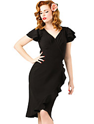 Women's 50s Flutter Sleeves Wrap Ruffled Vintage Dress