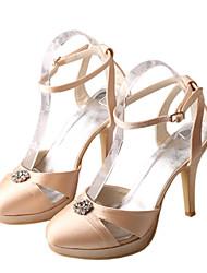 Women's Sandals Spring /  Platform Stretch Satin Wedding /  Dress Stiletto Heel Crystal White / Champagne
